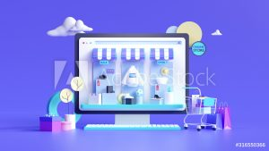 Shopping on-line. Online store on website or mobile application. 3d rendering background. digital marketing shop